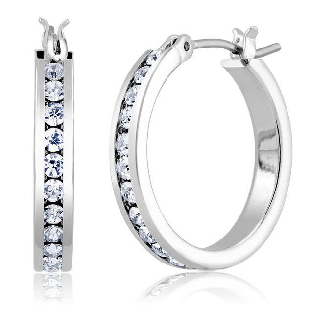 White Gold Plated Hoop Earrings