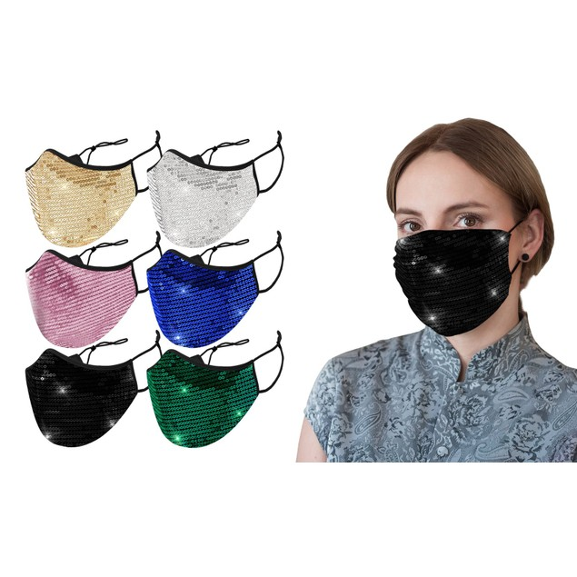 6-Pack Sequined Cotton Fashion Face Masks With Adjustable Ear Loops
