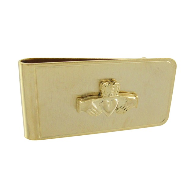 Gold Plated Irish Claddagh Symbol Money Clip Mens Money Clips