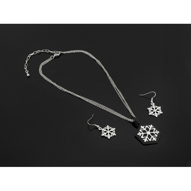 Stunning Rhinestone Snowflake Pendant & Earrings Womens Earring And