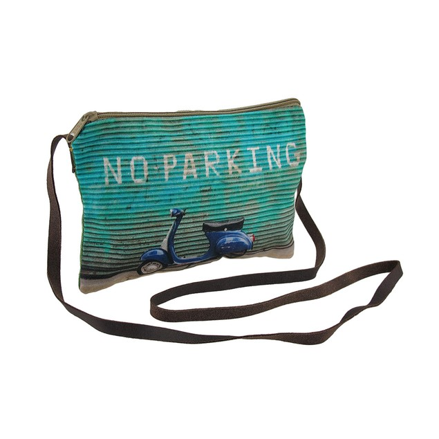 No Parking Scooter Blue And Green Cross Body Purse Womens Cross Body Bags