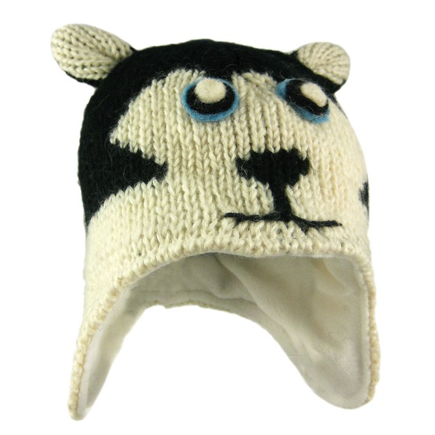 Child`S Wool Wolf Face Pilot Cap Winter Trooper Mens Cold Weather Hats