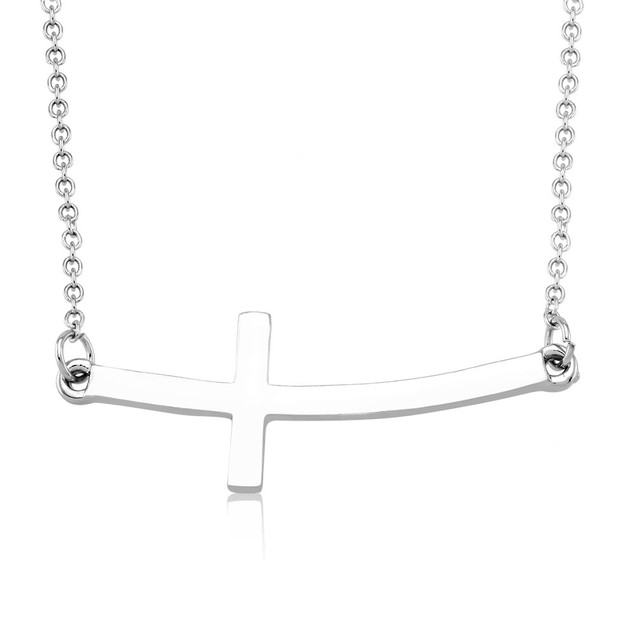 Silver Horizontal Cross Pendant Necklace
