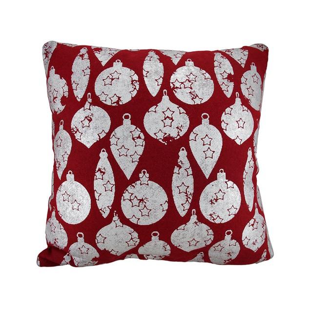 Red / Silver Christmas Ornaments Throw Pillow 18 Throw Pillows