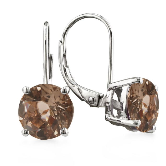 Sterling Silver 3 1/2 Carat Smoky Quartz Leverback Earrings