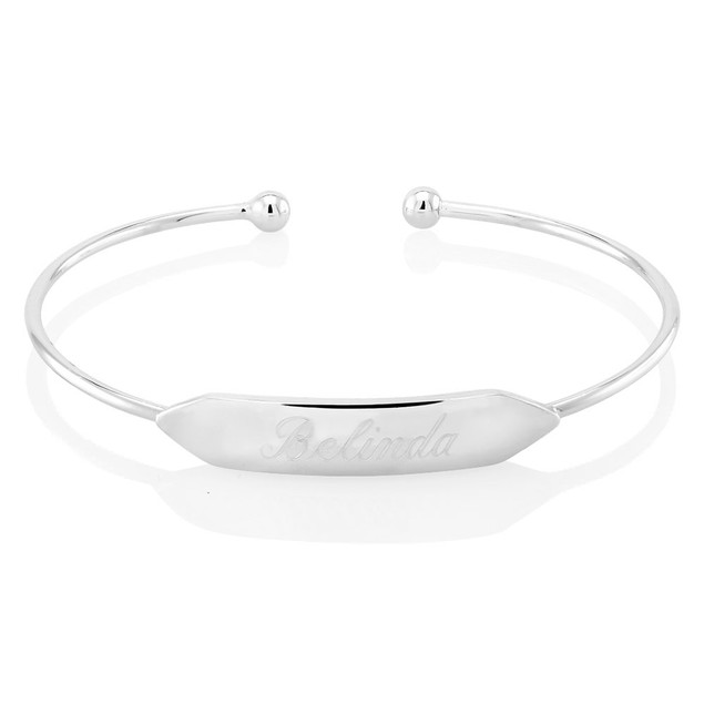 Personalized Bar Bangle Bracelet - 2 Colors