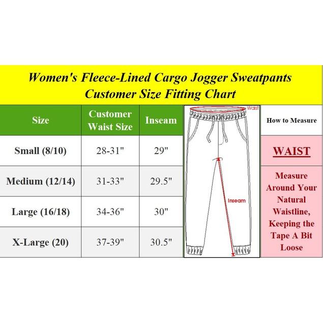 2-Pack Women's Fleece-Lined Cargo Jogger Sweatpants (S-XL)