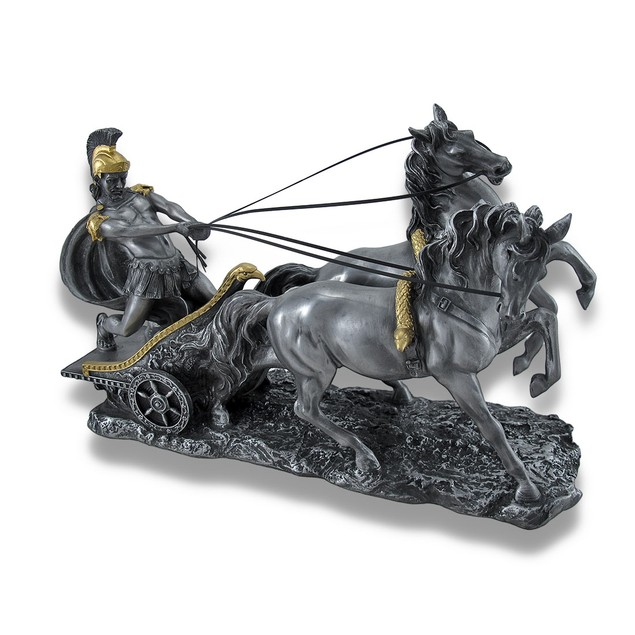 Roman Chariot And Warrior Statue Pewter Statues