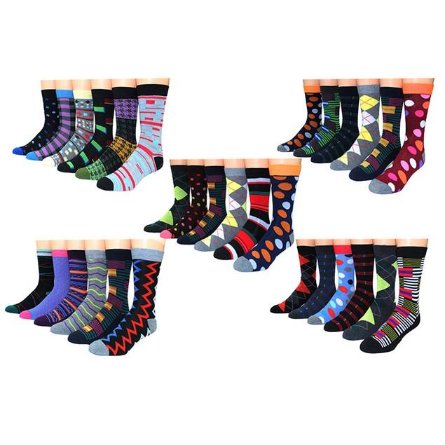 30-Pairs Premium Collections Men's Colorful Dress Socks