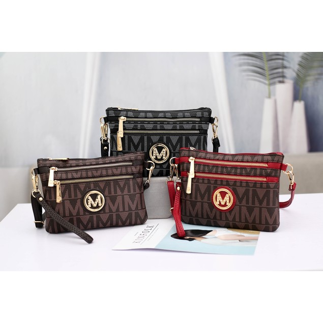 MKF Collection Monaco Milan M Signature Crossbody Wristlet by Mia K.