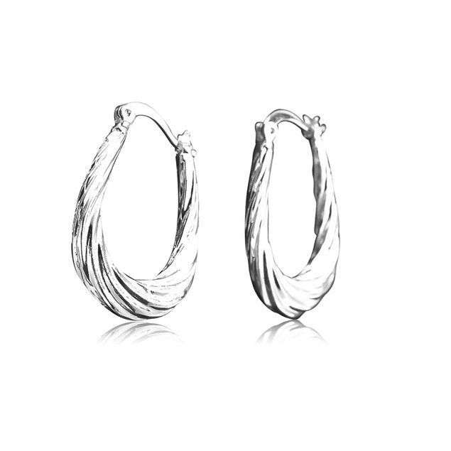2-Pack White and Yellow Gold Plated Twisted Hoop Earrings