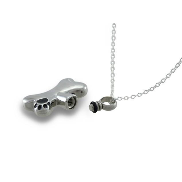Stainless Steel Dog Bone Keepsake Vial Pendant W/ Womens Pendant Necklaces