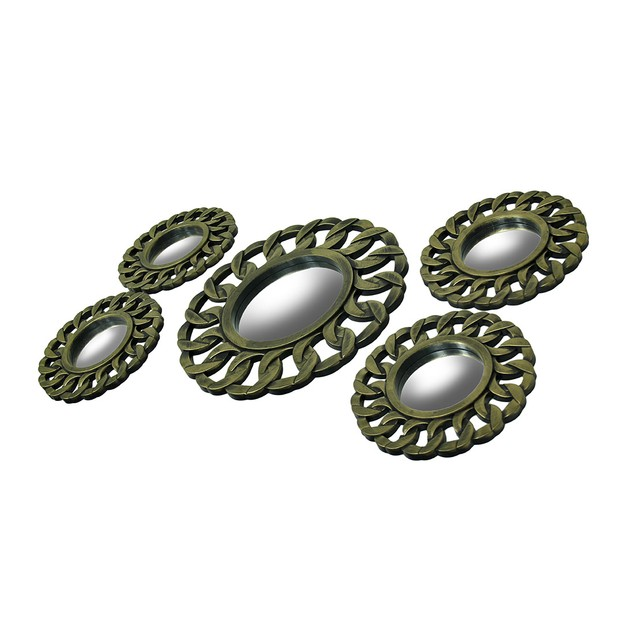 5 Pc. Brushed Gold Finish Cuban Link Wall Mirror Wall Mounted Mirrors