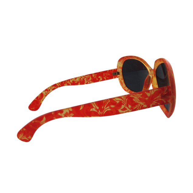 Orange Floral Print Ladies Sunglasses Smoke Lenses Womens Sunglasses