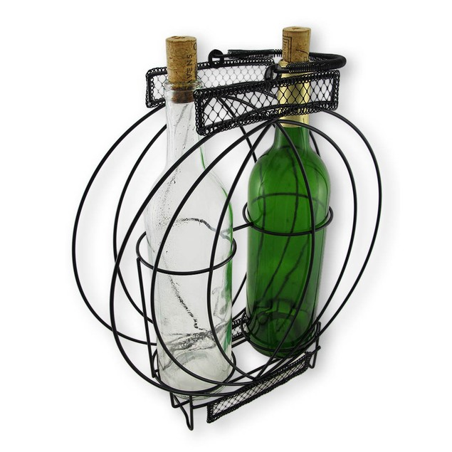 Oval Illusion Double Bottle Holder Display Tabletop Wine Racks