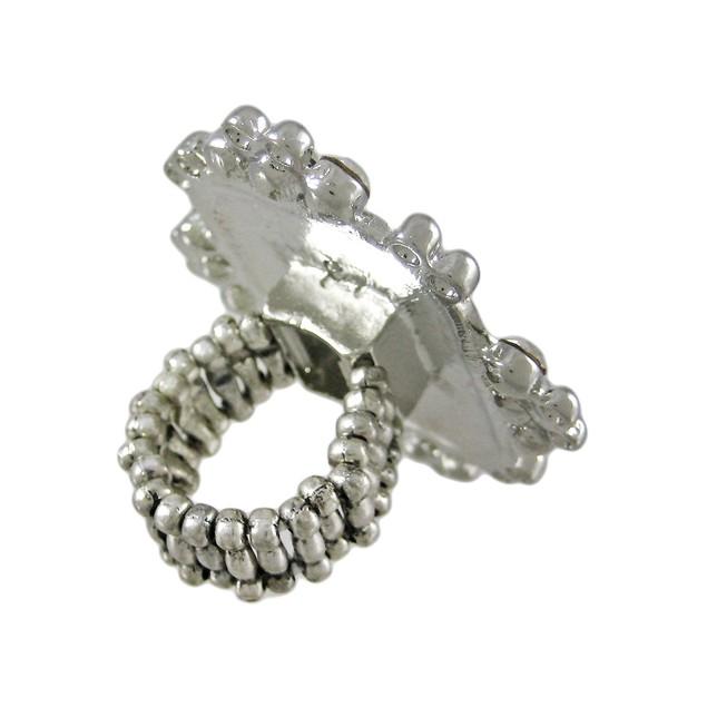 Beautiful Chunky Silvertone Rhinestone Stretch Womens Rings