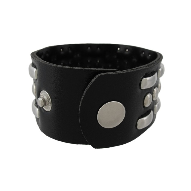 Black Vinyl Wristband With Curved Link Studs Womens Cuff Bracelets