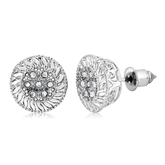 White Gold Plated Round Flower Stud Earrings