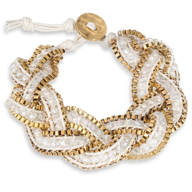 Braided White Crystal Bracelet with Gold Tone Box Chain Border