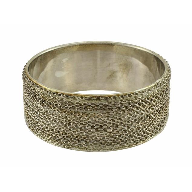 Silver Tone Link Chain Bangle Bracelet Womens Bangle Bracelets