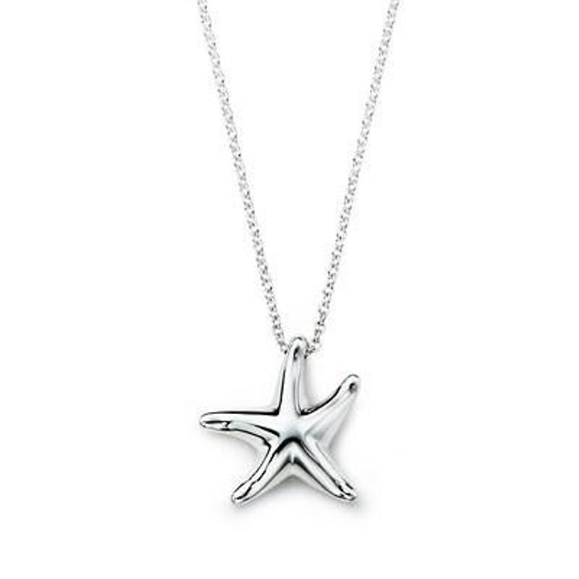 Silver Starfish Drop Necklace