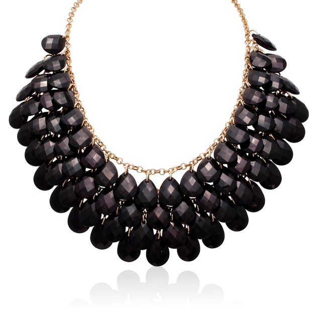 Gold Plated Crystal Statement Necklace - 2 Colors
