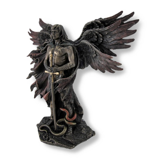 Bronzed Seraph Six-Winged Guardian Angel With Statues