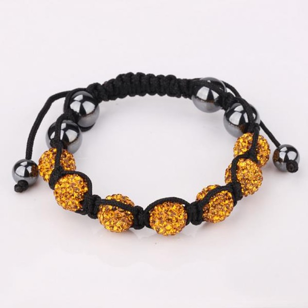 80's Glam Six Beads Austrian Crystal Bracelet - Orange