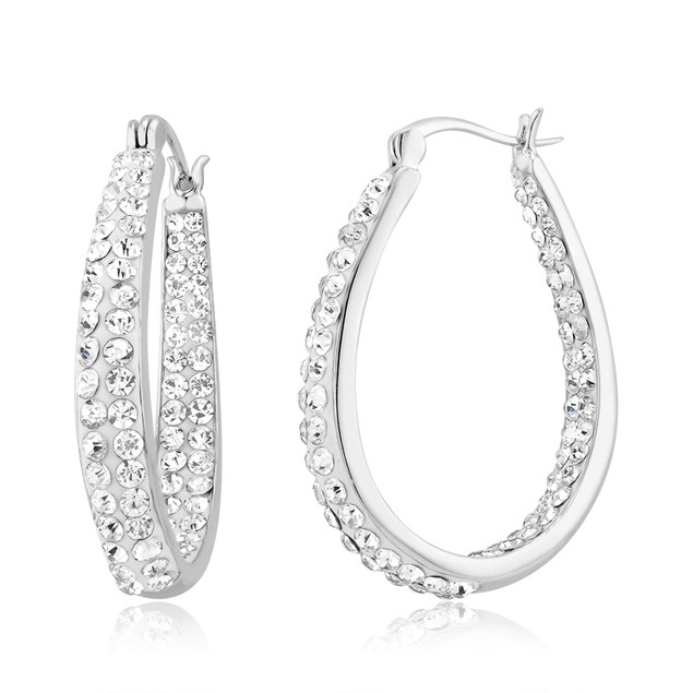 White Crystal Inside/Outside Oval Hoop Earrings