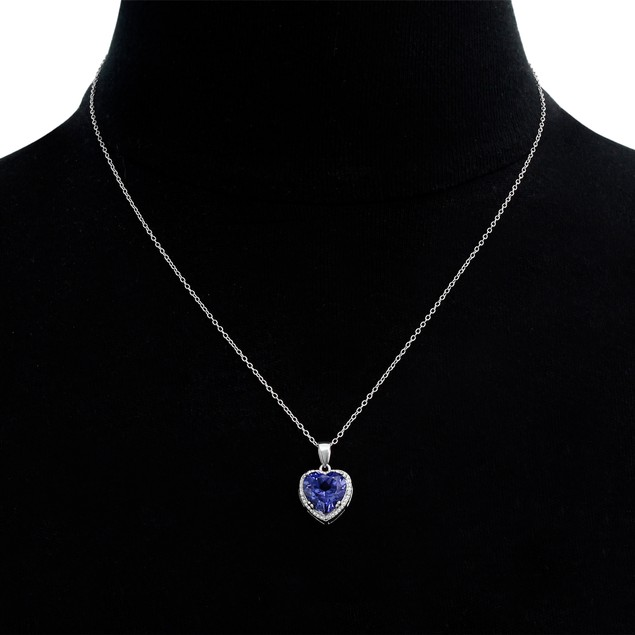 3 Carat Created Tanzanite and Diamond Heart Necklace