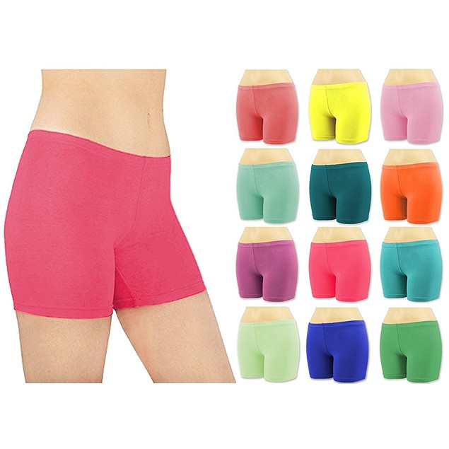 6-Pack: Sexy Basics Women's Cotton Stretch Boy Shorts