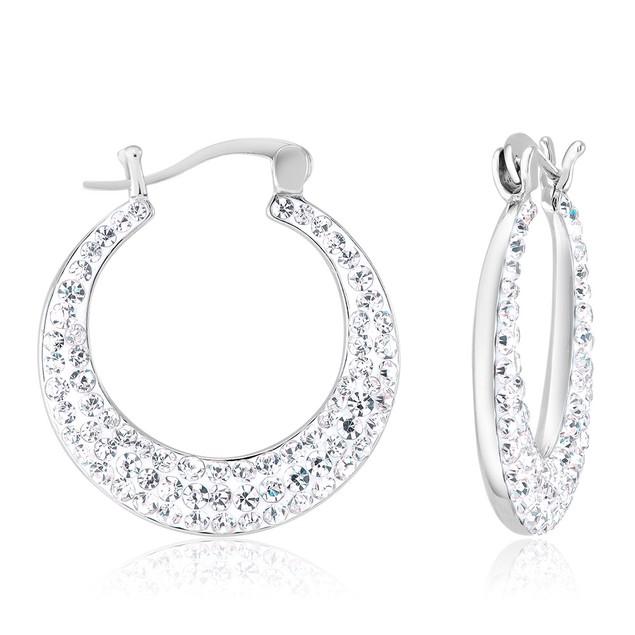 Crescent Crystal Hoop Earrings