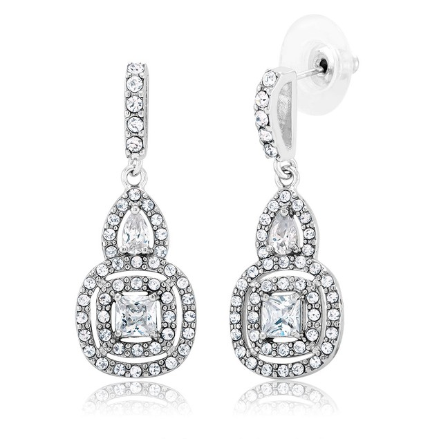 Cubic Zirconia Double Halo Drop Earrings