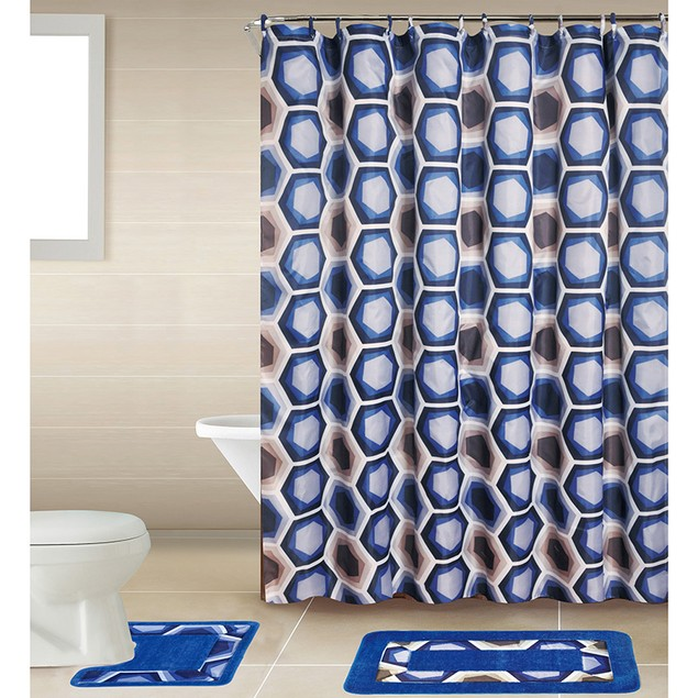 18-Piece Bath Set: Bath Boutique Shower Curtain and Bath Rug Set
