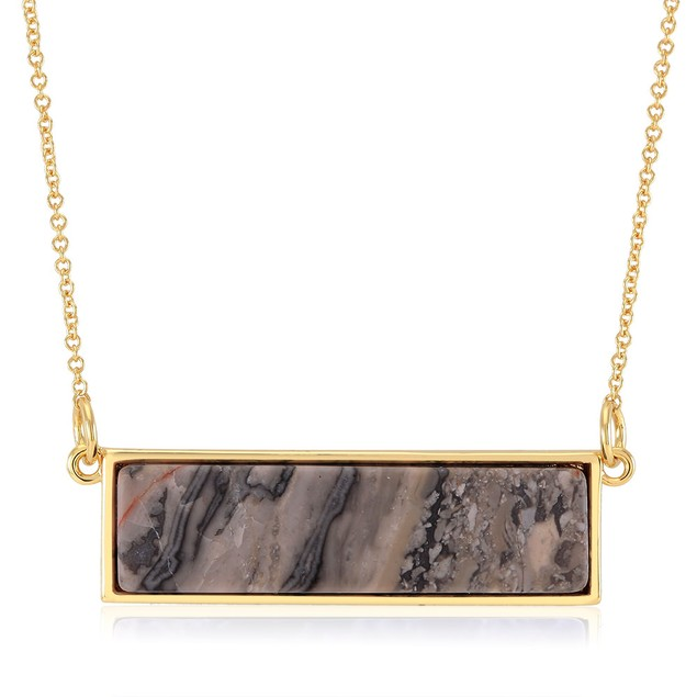 Gold Plated Genuine Quartz Bar Necklace - 7 Colors