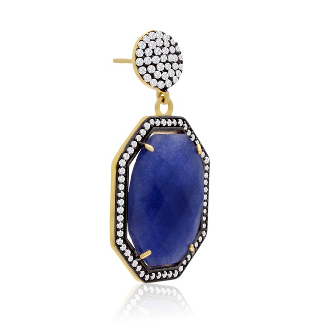 14k Gold 79ct Octagon Shape Blue Sapphire and CZ Dangle Earrings