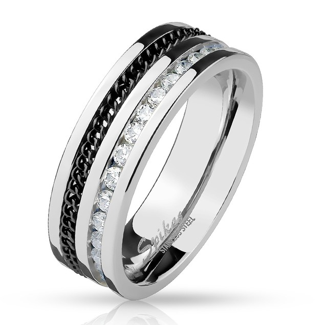 Black Chain and CZ Lined Stainless Steel Ring