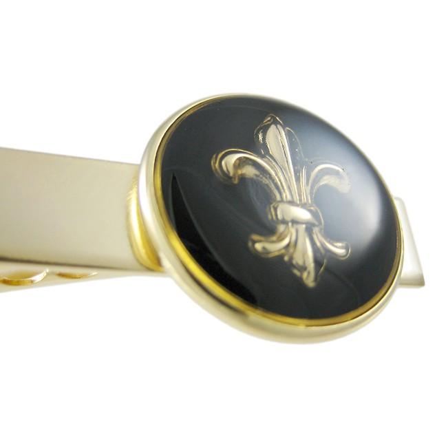 Gold Plated Fleur De Lis Tie Bar Clip Business Mens Tie Bar