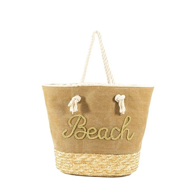 Women Tote Straw and Canvas Beach Bag