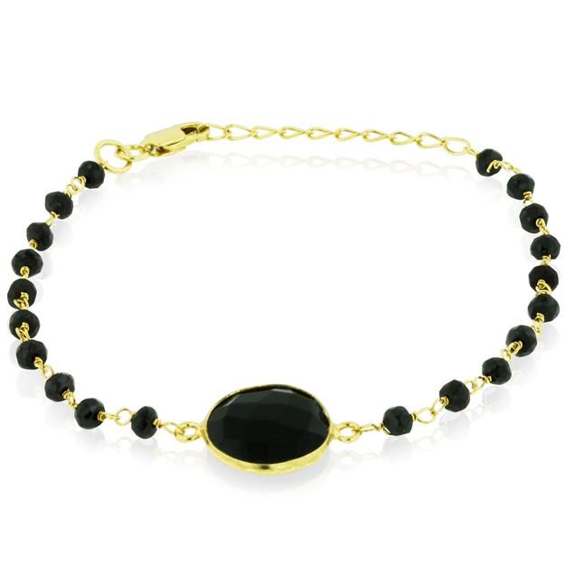 Gold Tone Sterling Silver 6 Carat Black Onyx Bracelet