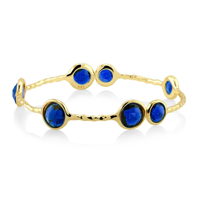 Designer Inspired Hammered Synthetic Sapphire Bangle Bracelet