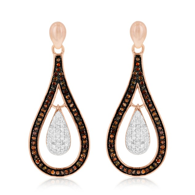 1/3ct Champagne and White Diamond Kiss Dangle Earrings In 14 Karat Rose Gold