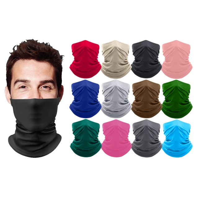 3-Pack Breathable Stretch Face Mask Neck Gaiter Scarf Bandana