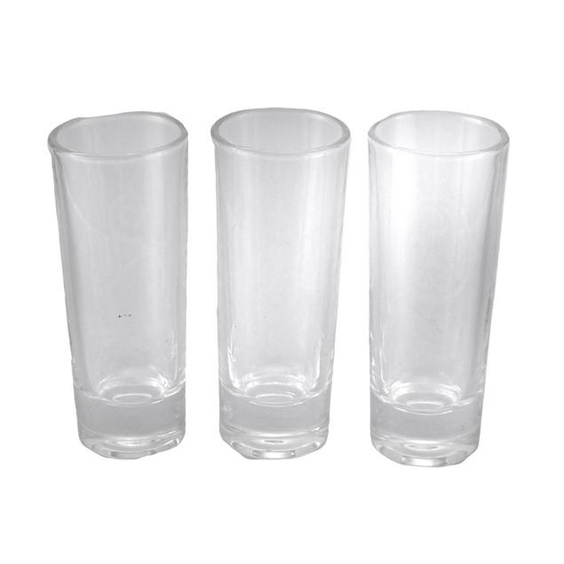 Set Of 3 Celtic Style Etched Glass Art Tall Shot Shot Glasses