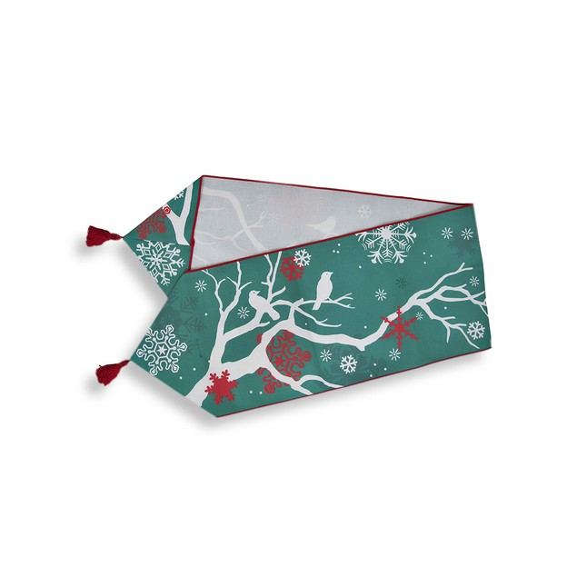 `Winter Crisp` Red And Green Holiday Table Runner Table Runners