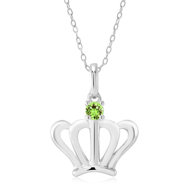 Sterling Silver Simulated Diamond Birthstone Necklace - Crown