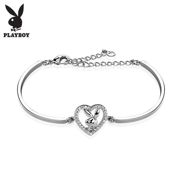Gemmed Playboy Bunny Heart 316L Stainless Steel Cuff Bracelet