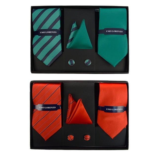 Umo Lorenzo Assorted Pack 2 Ties, 2 Hanky & Cufflink Set