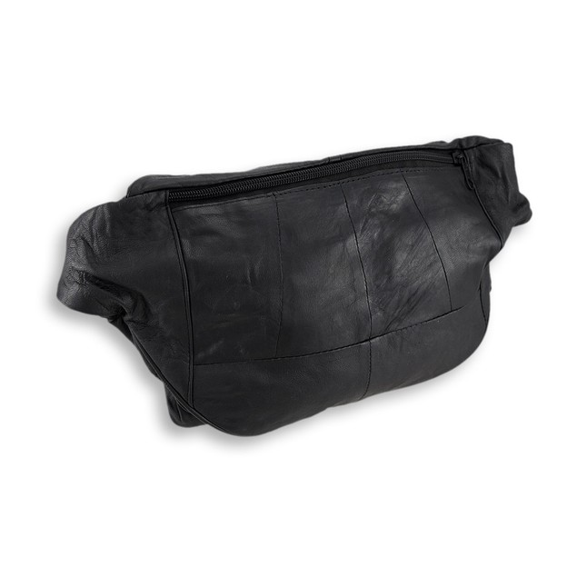 Black Leather Waist Bag With 3 Zip Compartments/3 Mens Waist Packs