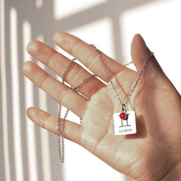 Cubic Zirconia Birthstone Horoscope Drop Necklace